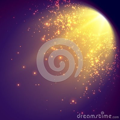 Free Abstract Vector Mesh Background. Shinig Comet With Glowing Poit Tail On The Violet Background. Futuristic Style Card. Royalty Free Stock Image - 91135266