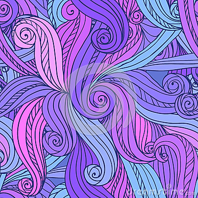 Abstract vector seamless hand-drawn pattern