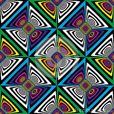 Free Abstract Vector Seamless Op Art Pattern. Colorful Pop Art, Graphic Ornament. Optical Illusion. Royalty Free Stock Photo - 108811465
