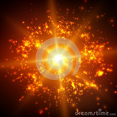Free Abstract Vector Space Background. Explosion Of Glowing Particles And Light Rays. Futuristic Technology Style. Stock Photos - 91134623