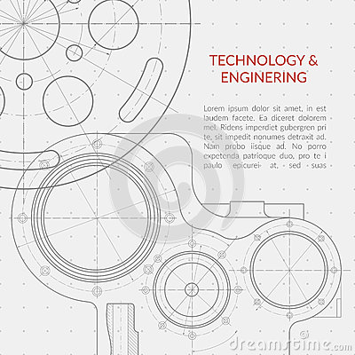 Free Abstract Vector Technology And Engineering Background With Technical, Mechanical Drawing Royalty Free Stock Image - 84646986