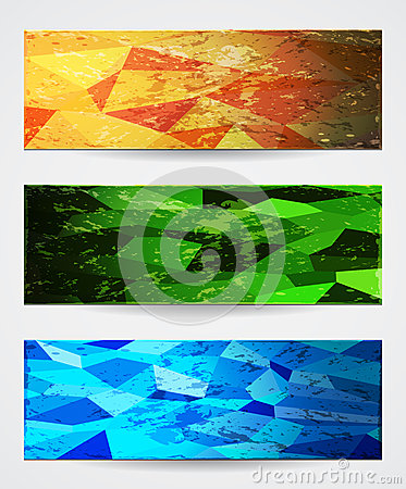 Abstract vibrant banners in grunge style.