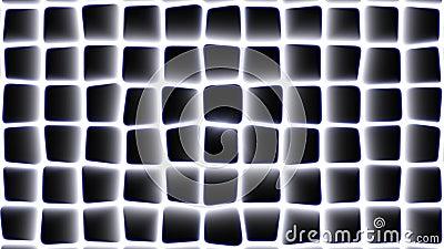 Abstract vierkant morphing patroon met radiale gloed en blauwe randen die van rechts naar links bewegen stock footage