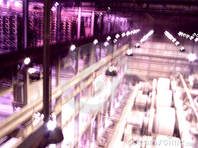 Abstract View inside Industrial Plant