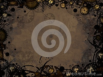 Abstract vintage clocks steampunk dark background