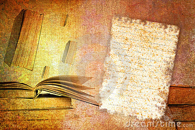 Abstract vintage paper with old book motives