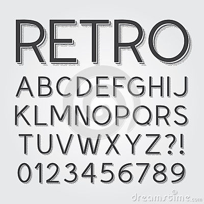 Abstract Vintage Retro Font And Numbers Stock Images ...