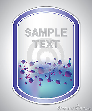 Abstract violet-blue laboratory label Vector Illustration