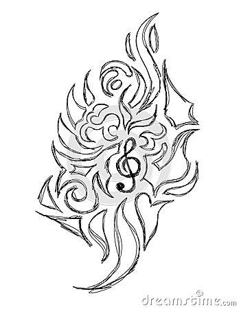 Abstract Violin Key tattoo