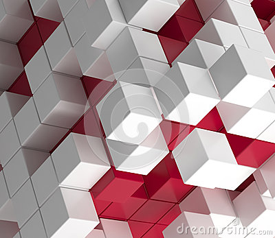 Red And White Wallpaper abstract wallpaper of red and white cubes stock illustration