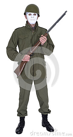 Abstract War Concept Military Soldier with No Face Isolated