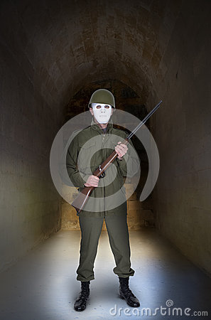 Abstract War Military Concept, Soldier With Mask