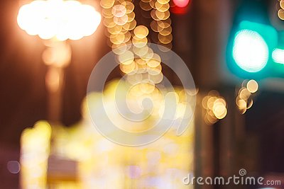 Abstract warm orange bokeh background, blurred big city Stock Photo