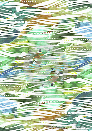 Free Abstract Watercolor Background With Green And Blue Brush Strokes In Stripe Texture Hand Drawn With Freehand Blobs, Splashes And Bl Stock Photography - 75290982