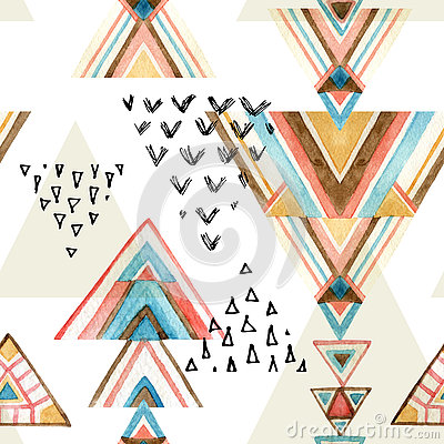 Free Abstract Watercolor Ethnic Seamless Pattern. Stock Photography - 75939282