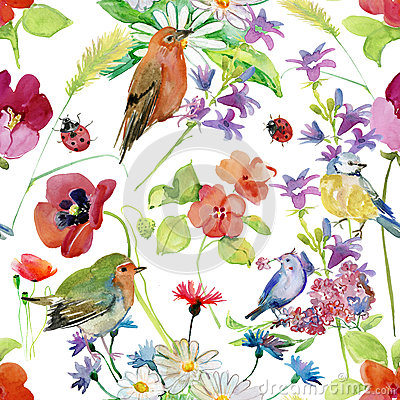 Free Abstract Watercolor Hand Painted Background With Flowers And Birds. Royalty Free Stock Images - 66891089