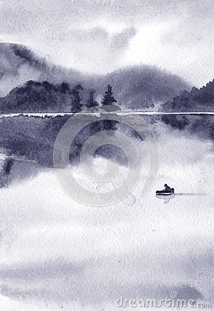 Free Abstract Watercolor Landscape, Lake In Calm Weather At Sunset Stock Images - 78551394