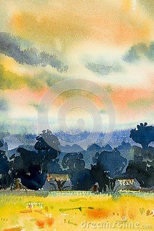 Free Abstract Watercolor Painting Of Village View,tree Mountain Royalty Free Stock Photo - 107539175
