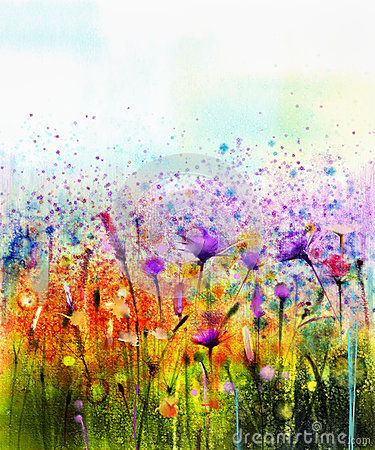 Free Abstract Watercolor Painting Purple Cosmos Flower,cornflower, Violet Lavender, White And Orange Wildflower Stock Photo - 72950990
