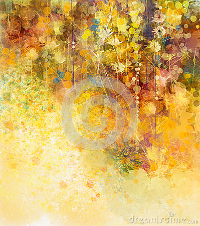 Free Abstract Watercolor Painting White Flowers And Soft Color Leaves Stock Images - 57818424