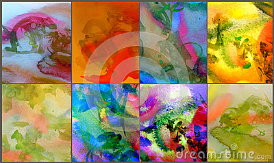 6 Abstract watercolor paintings
