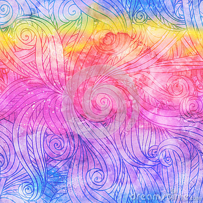 Abstract watercolor seamless hand-drawn pattern