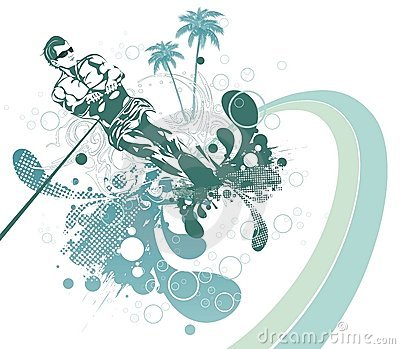 Abstract waterski & summer