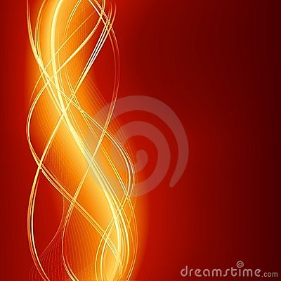 Abstract wave background in flaming red golden
