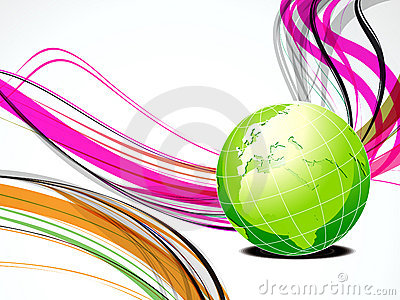 Abstract wave background with globe