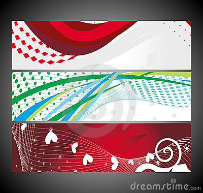 Abstract wave banners multi-colored