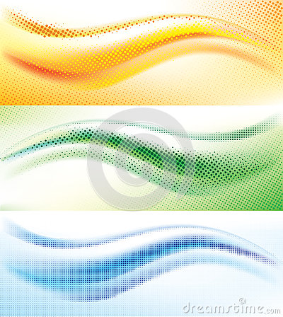 Abstract wave halftone background