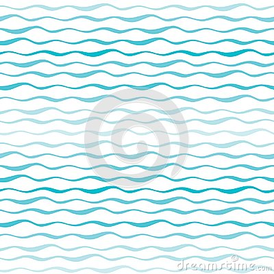 Free Abstract Waves Vector Seamless Pattern. Wavy Lines Of Sea Or Ocean Hand Drawn Background Stock Photo - 99400310