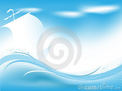 Abstract wavy vector backdrop with sailing boat
