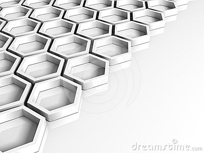 Abstract white background with hexagon figures
