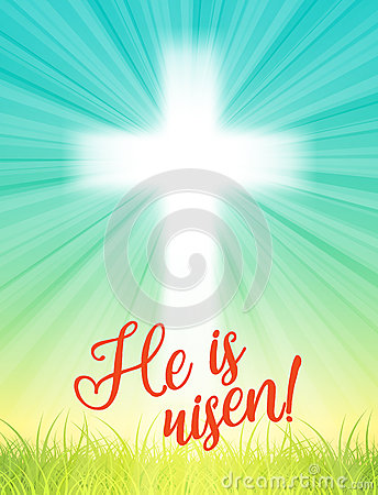Free Abstract White Cross With Rays And Text He Is Risen, Christian Easter Motive, Illustration Stock Photo - 66624390