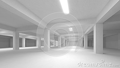 Abstract white empty underground parking