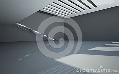 Abstract white interior with balcony