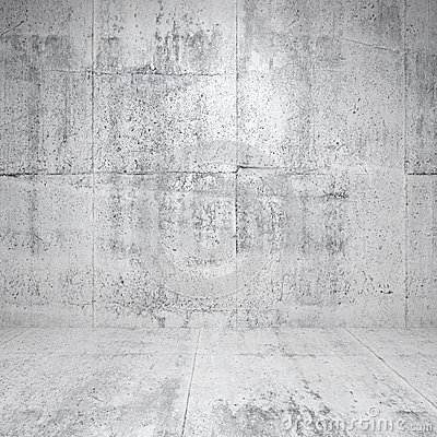 Abstract white interior with concrete walls