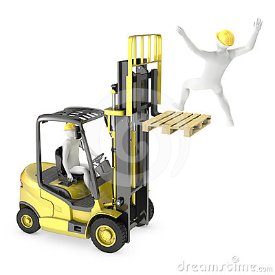 Abstract white man falling from lift truck fork