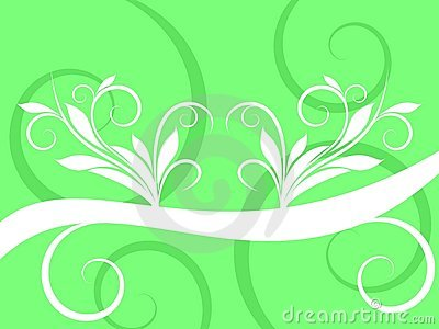 Abstract White Swirl on Green Background