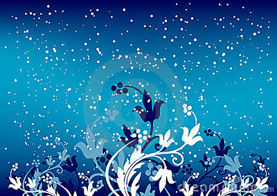 Abstract winter background with flakes and flowers in blue color