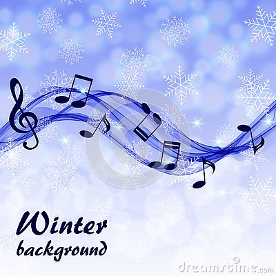 Abstract winter background with music notes and a treble clef Vector Illustration