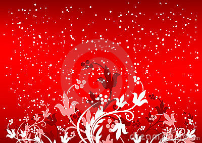 Abstract winterbackground with flakes and flowers in red - Dreaming about the color red ...