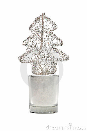Abstract wired metal christmas tree in small glass