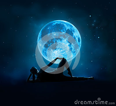 Free Abstract Woman Are Yoga At Blue Full Moon With Star In Dark Night Stock Image - 63188741