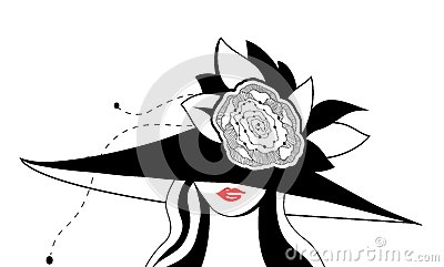 Abstract  woman silhouette with hat.