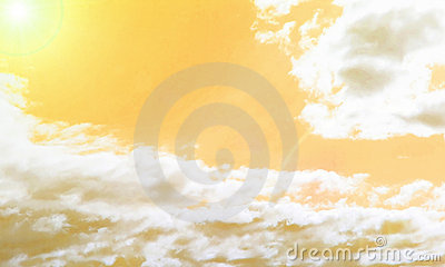 Abstract yellow sky with clouds and sun
