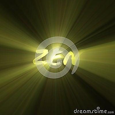 Zen word enlightenment bright light flare