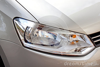 Abstract Zilveren Auto en Front Headlight