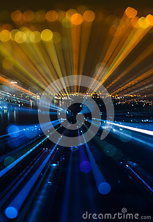 Free Abstract Zoom Blur City Bokeh Lights Background Stock Image - 61520631